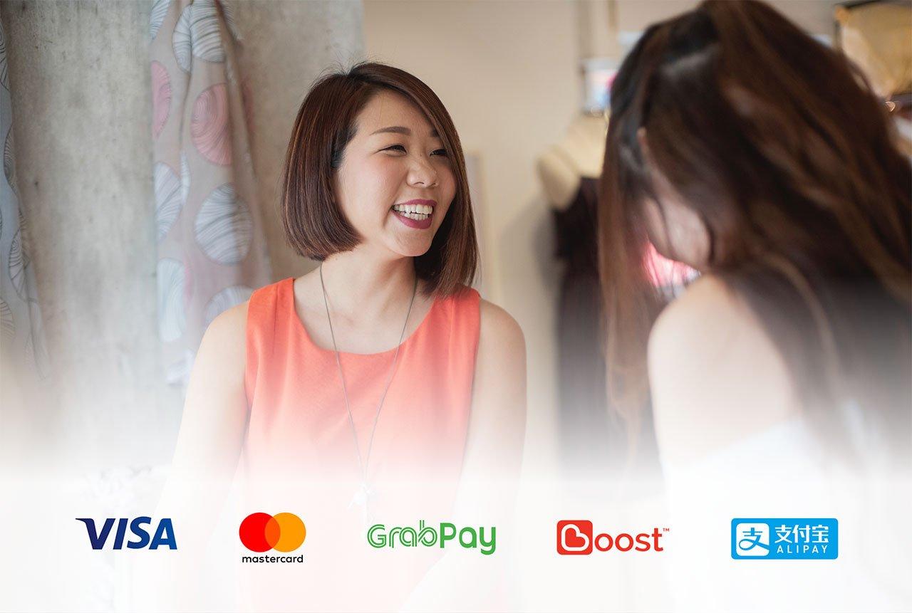 Visa, Mastercard, GrabPay, Boost, Alipay